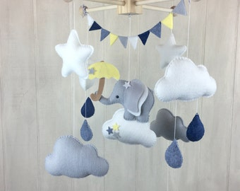 Elephant mobile - umbrella mobile - star mobile - baby mobile - cloud mobile - stormy weather - rain mobile - raindrops - nursery mobile