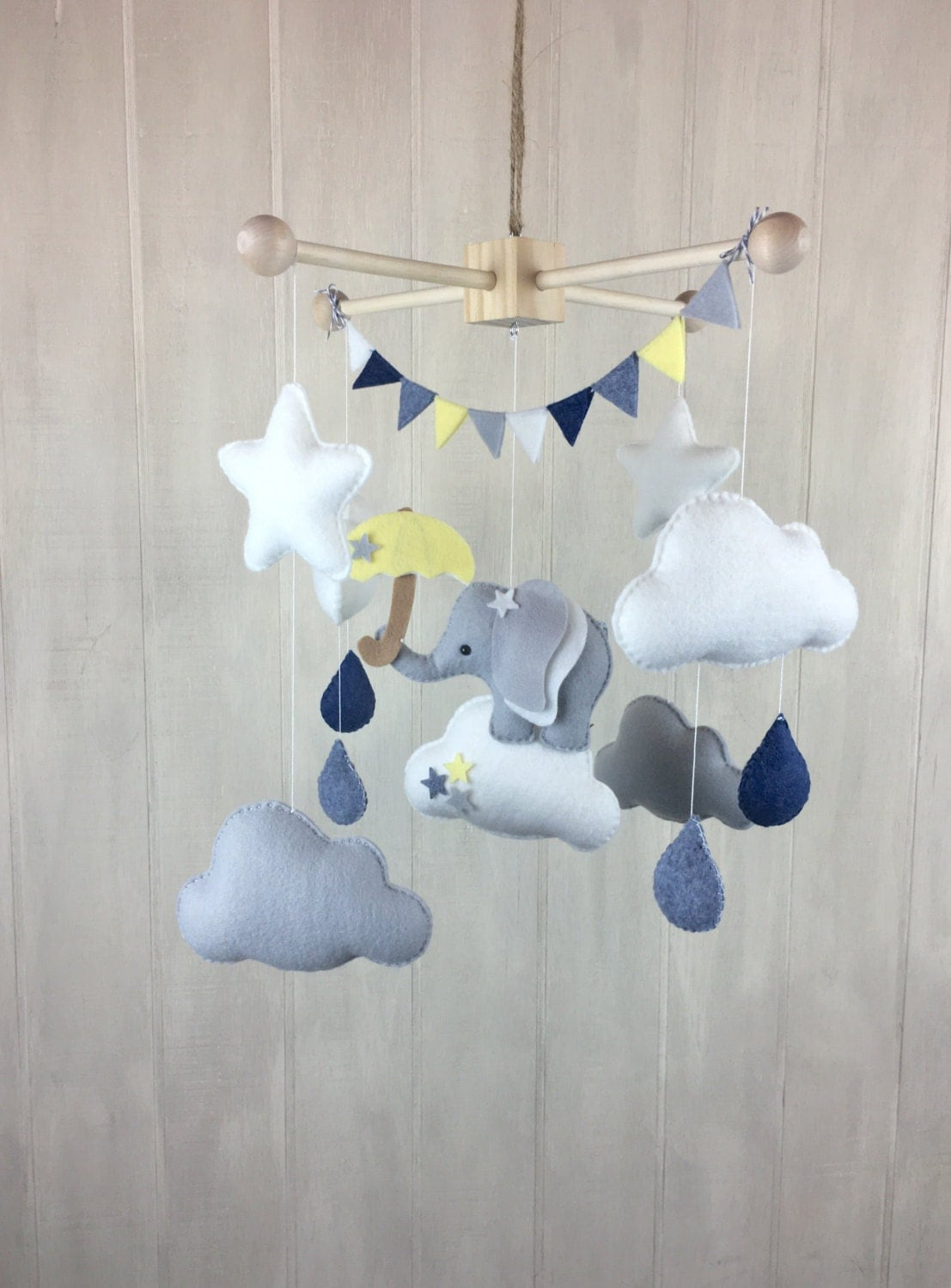 Elephant mobile umbrella mobile star von juniperstreetdesigns