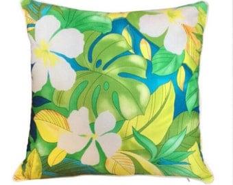 Cushion Tropical Aloha Green and Yellow Cushions Pillow Sham Island Polynesian Coastal Beach Hawaiian Piping