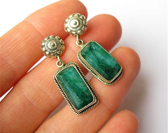 Vintage Sterling Silver and Emerald Earrings