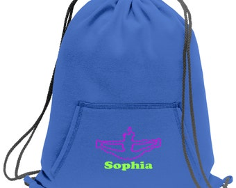 Sweatshirt material cinch bag with front pocket and embroidered spirit design - Cheerleading - Multiple Colors - Camouflage - BG614