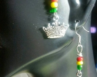 Crowned Royal Rasta Red Yellow Green Glass Seed Beaded Silver Crown