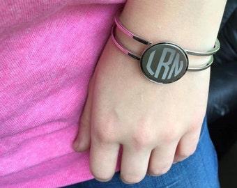 Circle Monogram Spring Cuff Bracelet