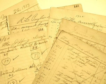 Antique Ledger Pages 100+ Years Old from Memphis Gin and Country General Store 1890's-1930's (8 full pages).