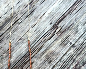 Wooden Layering Necklace on 14k Gold Filled Chain