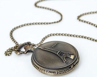 1 Eiffel Tower Pocket Watch Necklace Paris Wedding Gift Watch-C104