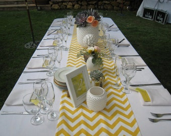Yellow and White Chevron Table Runner, Wedding Runner, Bay Shower, Birthday Party, Recepton Table, Dinner Table Decor