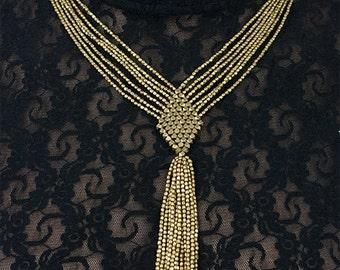 Tribal Ethnic Boho beaded brass necklace (0014)