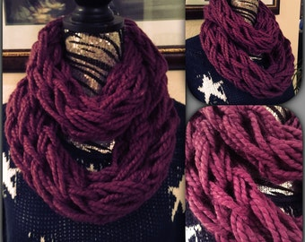 Soft Plum Arm Knitted Infinity Scarf