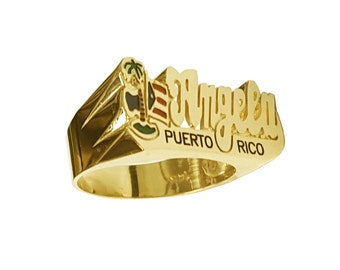 Lee171L-14y-14k Yellow Gold 12mm Script Letter National Flag w/Palm Tree Name Ring