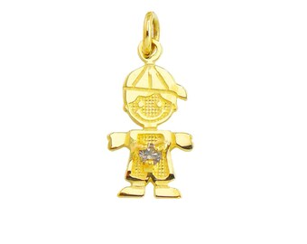 "SBoy-Jun1 - 14K Yellow Gold 1/2"" June Birthstone Boy Charm"