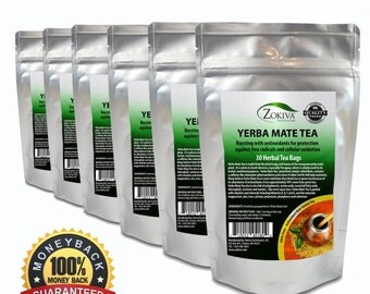 Yerba Mate Tea 6-Pack 100% Pure (30 Bags) All-Natural Immune System Support