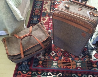 Vintage Hartmann Luggage 1960s Suitcase & Duffel Bag Twead Exterior Leather Straps and Handles Two Piece Set