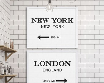 New York City Print London Art Industrial Wall Decor Gossip Art Two Prints Cheap Art Gift for NYC Lover Modern Decor Subway Tile Ideas