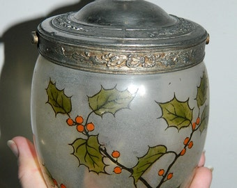 POT decorated glass, decorated glass jar. french vintage