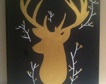 Deer head silhouette christmas canvas painting