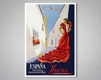 Espana Andalucia Iberia Lineas Travel Poster - Poster Print, Sticker or Canvas Print