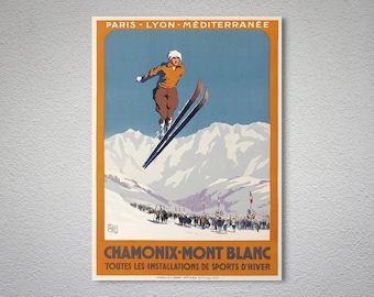 Chamonix Mont Blanc Vintage Travel Poster  - Poster Print, Sticker or Canvas Print