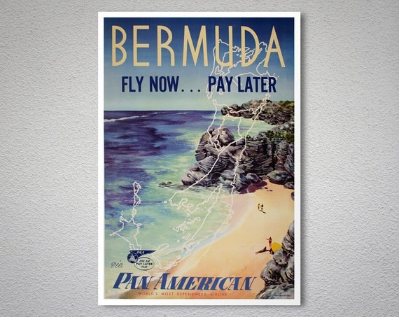 Bermuda fly now pay later pan am vintage travel poster for Fly now and pay later