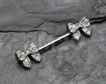 Dainty Bow-Tie Sparkle Nipple Barbell Ring