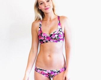 Beautiful Bouquet / Prepster Polk-A-Dot Reversible Racerback Bikini Top