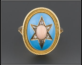 Antique Victorian Ring | Turquoise Enamel Ring | Victorian Star Ring | 14k Gold Ring | Turquoise & Coral Ring | Antique Ring