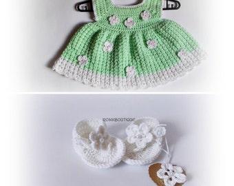 Crochet baby dress, Crochet baby plip flops, green white baby set, Newborn dresses, green baby dress, baby flip flops, baby set