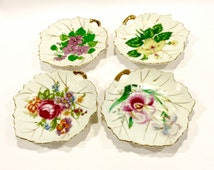 Vintage NASCO, Hand Painted Porcelain, Leaf Shape, Trinket Dish, Set of 4, Floral Design, Tea Bag Holder, Ring Dish, Soap Dish, Japan, 1950s