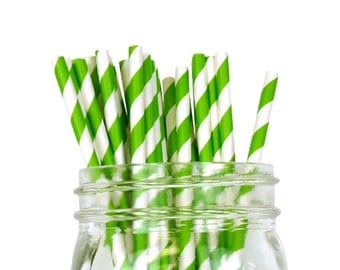 Green Apple Striped Party Paper Straws 25pcs SPS250049 Just Artifacts Brand