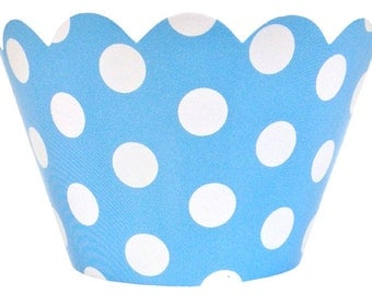 Cupcake Wrapper 20pcs Baby Blue with White Polka Dots Just Artifacts Brand CCW200006