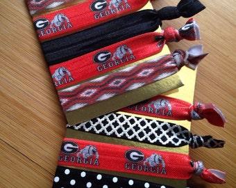 UGA collegiate hair tie set of 5