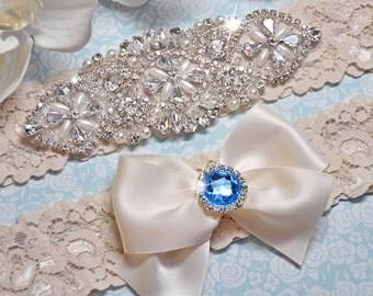 Wedding Garter Set, Bridal Garter Set, Crystal Garter Set w/ Blue Rhinestone, Lace Garter, Ivory Garter Belt, Something Blue