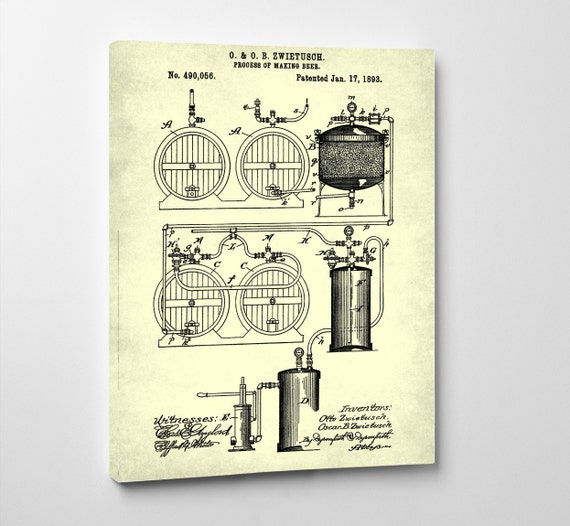 Man Cave Canvas Art : Beer brewing patent man cave art on canvas by