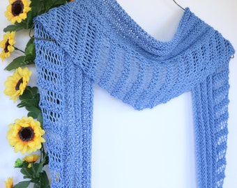 Cornflower blue triangle scarf, cotton open weave scarf, cotton triangle scarf