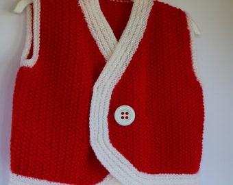 Red and white kid's vest, Christmas vest, holiday sweater vest, unisex vest