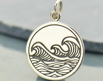 Sterling Silver Ocean Waves Charm