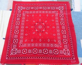 Vintage Red Bandana Fast Color RN 23733 Cotton Delicate White Print