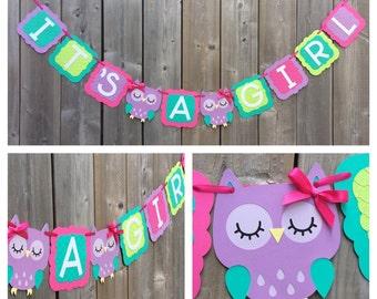 IT'S A GIRL Owl banner, pink purple owl banner, baby shower decoration, pink purple green owl baby shower banner, gender reveal