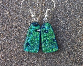 Light Green Dichroic Fused Glass Dangle Earrings