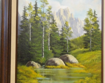 Vintage Oil Painting /Trees/Rocks/Stream/Mountains/Signed P. Pitts