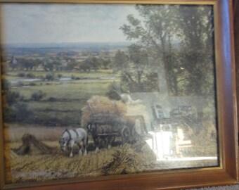 """Vintage Print Titled """" Harvest Time"""" By Glenoeing"""