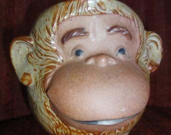 Vintage Monkey Face Pottery Mug/Japan