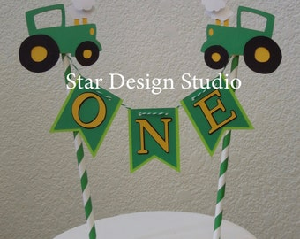 Tractor Cake Topper Birthday Bunting cake topper-  Smash cake, first birthday, Any number, name available