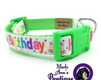 Dog Collar / Happy Birthday / Birthday Dog Collar / Neon / Green / Adjustable Collar / Dog Collar and Leash / Dog Leash / Dog Birthday Party
