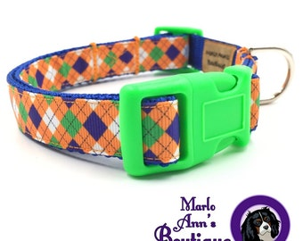 Dog Collar / Argyle Dog Collar / Fall Dog Collar / Autumn / Neon / Orange / Blue / Green / Plaid / Diamonds / Dog Collar and Leash