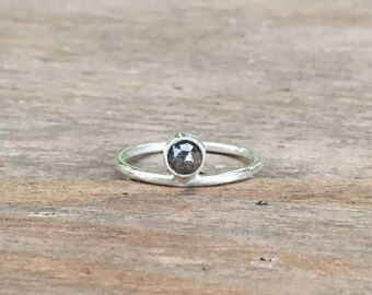 Grey Diamond Ring, Rise Ring with Diamond, Natural Diamond Engagement Ring or Wedding Ring, Custom Diamond Ring - Pick your Stone