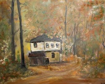 Impressionist oil painting landscape tree signed
