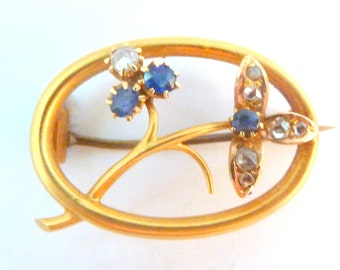 Antique 15K Gold Sapphire And Diamond Floral Design Brooch Complete With Original Box.