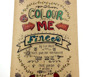 SALE! Hand-drawn Handmade Artsy Adult/teen Colouring Book with Newly Designed Cover - 20 pages