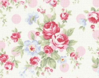 Princess Rose fabric by Lecien, Shabby Chic Fabric, Cream Fabric with Pink Roses and Pink Dots, Fabric by the Yard, Cut from the Bol